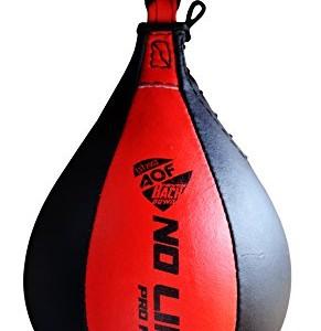 AQF-Ensemble-sac-de-frappe-en-cuir-pour-travailler-la-vitesse-sac-pivotant-pour-entranement-MMA-multicolore-noirrouge-0