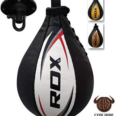 RDX-Vitesse-Ball-Cuir-Boxe-Poire-De-Frappe-Entrainement-MMA-Speed-Bag-Muay-Thai-Punching-Ball-et-Pivotant-Rotule-Plafond-0