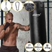 Sac-de-Frappe-Plein-Rempli-35-cm-H100cm-Poids-27-kg-Chane-de-Suspension-4-points-et-Mousqueton-Inclus-Punching-Bag-Boxe-MMA-Muay-Thai-Kickboxing-Arts-Martiaux-Taekwando-Fitness-Sport-0